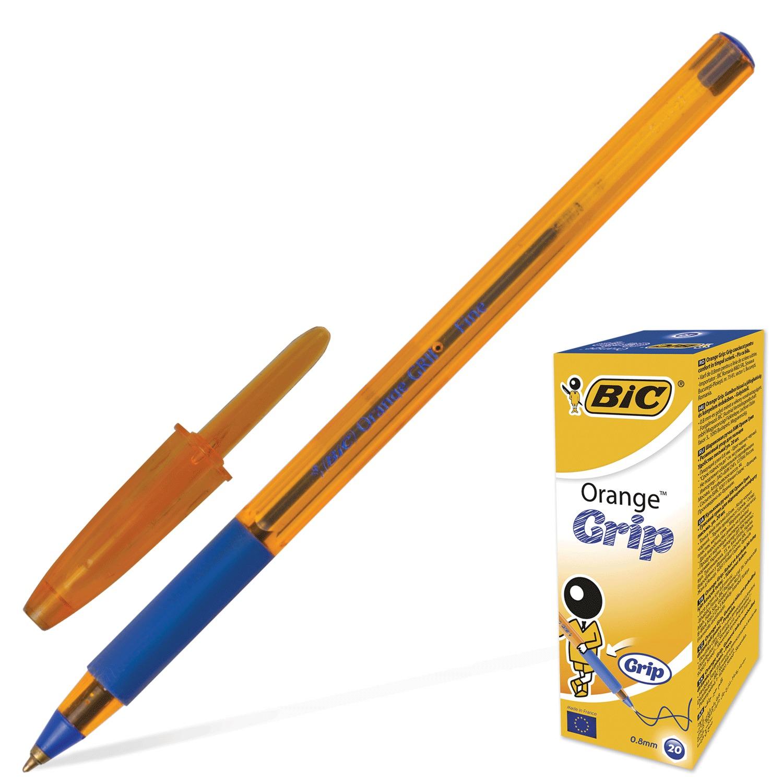 """Ручка шариковая с грипом BIC """"Orange Grip"""", СИНЯЯ, корпус оранжевый, узел 0,8 мм, линия письма 0,3 мм"""