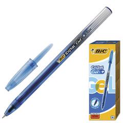 """Ручка гелевая BIC """"Cristal Gel+"""" (Франция), корпус синий, полупрозрачный, толщина письма 0,5 мм, синяя"""