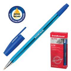 """Ручка шариковая масляная ERICH KRAUSE """"Ultra L-15"""", корпус тонированный, узел 0,7 мм, линия 0,35 мм, синяя"""