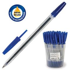 """Ручка шариковая масляная СТАММ """"Оптима"""", СИНЯЯ, корпус прозрачный, узел 1,2 мм, линия письма 0,7 мм, РО20"""