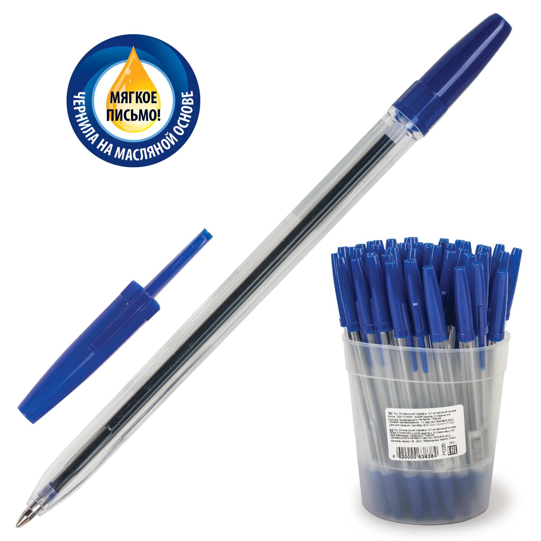 """Ручка шариковая масляная СТАММ """"Оптима"""", СИНЯЯ, корпус прозрачный, узел 1,2 мм, линия письма 0,7 мм"""