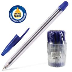 """Ручка шариковая масляная СТАММ """"111"""", корпус прозрачный, узел 1,2 мм, линия 1 мм, синяя"""