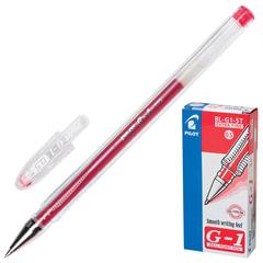 """Ручка гелевая PILOT """"G-1"""", КРАСНАЯ, корпус прозрачный, узел 0,5 мм, линия письма 0,3 мм"""