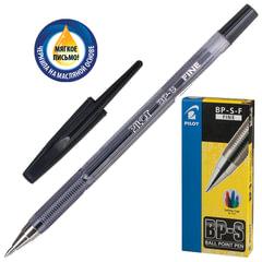 """Ручка шариковая масляная PILOT """"BP-S"""", корпус тонированный черный, узел 0,7 мм, линия 0,32 мм, черная"""