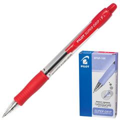 """Ручка шариковая масляная PILOT автоматическая, BPGP-10R-F """"Super Grip"""", корпус красный, резиновый упор, 0,32 мм, красная"""