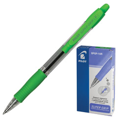 """Ручка шариковая масляная PILOT автоматическая, BPGP-10R-F """"Super Grip"""", корпус салатовый, резиновый упор, 0,32 мм, синяя"""