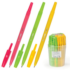 """Ручка шариковая СТАММ """"Тропик"""", корпус ассорти, узел 1,2 мм, линия письма 1 мм, синяя"""