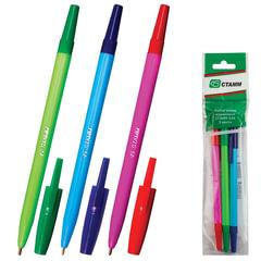 """Ручки шариковые СТАММ """"049"""", набор 3 шт., """"049"""", корпус ассорти, узел 1,2 мм, линия 0,7 мм (синяя, красная, зеленая)"""