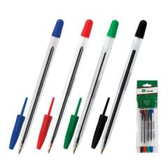 """Ручки шариковые СТАММ """"111"""", набор 4 шт., корпус прозрачный, 1 мм, европодвес (синяя, черная, красная, зеленая)"""