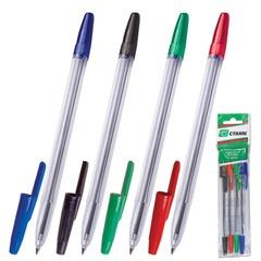 """Ручки шариковые СТАММ """"Оптима"""", набор 4 шт., толщина письма 1 мм, европодвес (синяя, черная, красная, зеленая)"""