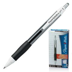 """Ручка гелевая автоматическая PAPER MATE """"PM Gel"""", корпус тонированный черный, узел 1 мм, линия 0,7 мм, черная"""