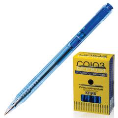 """Ручка шариковая автоматическая СОЮЗ """"Клик"""", корпус тонированный синий, 0,7 мм, линия 0,35 мм, синяя"""