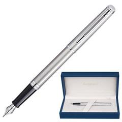 """Ручка перьевая WATERMAN """"Hemisphere Steel CT"""", корпус серебристый, нержавеющая сталь, хромированные детали, синяя, S0920410"""