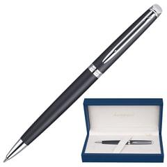 """Ручка шариковая WATERMAN """"Hemisphere Matte CT"""", корпус черный, матовый лак, нержавеющая сталь, хромиров. детали, синяя, S0920870"""
