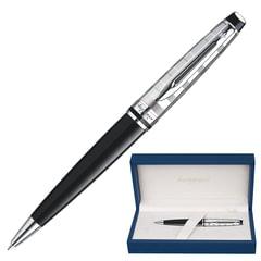 """Ручка шариковая WATERMAN """"Expert Deluxe CT"""", корпус черный, нержавеющая сталь, палладиевое покрытие деталей, синяя, S0952360"""