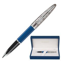 """Ручка подарочная перьевая WATERMAN """"Carene Contemporary Blue and Gunmetal ST"""", синий лак, посеребренные детали, синяя, 1904558"""