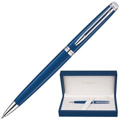 """Ручка шариковая WATERMAN """"Hemisphere CT"""", корпус синий, нержавеющая сталь, палладиевое покрытие деталей, синяя, 1904603"""
