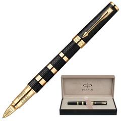 """Ручка PARKER """"5-й пишущий узел"""" """"Ingenuity Rubber&Metal GT"""", корпус черный, латунь, позолоченные детали, 1858532, черная"""