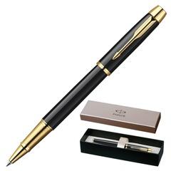 """Ручка-роллер PARKER """"IM Black Lacquer CT"""", корпус черный лак, латунь, позолоченные детали, S0856360, черная"""
