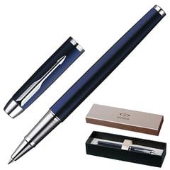 """Ручка-роллер PARKER """"IM Blue Lacquer CT"""", корпус синий лак, латунь, хромированные детали, S0856380, черная"""
