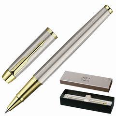 """Ручка-роллер PARKER """"IM Brushed Metal GT"""", корпус """"шампань"""", латунь, позолоченные детали, S0856400, черная"""