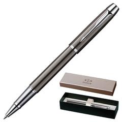 """Ручка-роллер PARKER """"IM Gun Metal CT"""", корпус вороненая сталь, латунь, хромированные детали, S0856410, черная"""