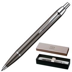 """Ручка шариковая PARKER """"IM Gun Metal CT"""", корпус вороненая сталь, латунь, хромированные детали, S0856490, синяя"""