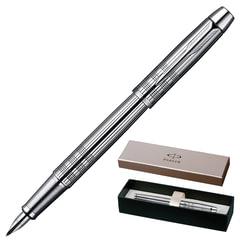 """Ручка перьевая PARKER """"IM Premium Chiselled CT"""", корпус """"сияющий хром"""", латунь, хромированные детали, S0908640, черная"""