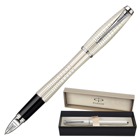 """Ручка PARKER """"5-й пишущий узел"""" """"Urban Premium Chiselled CT"""", корпус """"жемчужный"""", латунь, хромированные детали, черная, S0976030"""