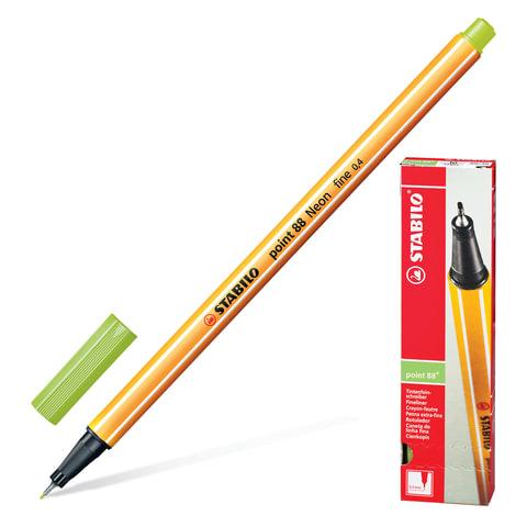 """Ручка капиллярная STABILO """"Point"""", корпус оранжевый, толщина письма 0,4 мм, светло-зеленая"""