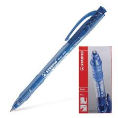 """Ручка шариковая автоматическая STABILO """"Liner"""", корпус прозрачный, узел 0,7 мм, линия 0,3 мм, синяя"""