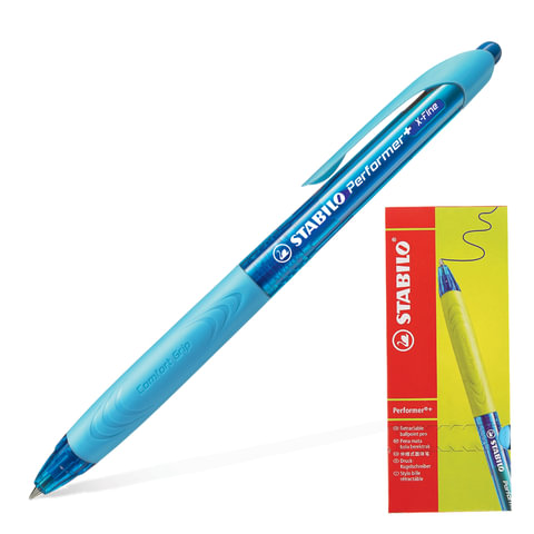 """Ручка шариковая масляная автоматическая STABILO """"Performer+"""", синие детали, узел 0,5 мм, линия 0,3 мм, синяя"""