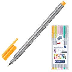 Ручки капиллярные STAEDTLER, набор 6 штук, трехгранные, 0,3 мм, цвета пастельные, ассорти
