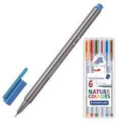 Ручки капиллярные STAEDTLER, набор 6 штук, трехгранные, 0,3 мм, цвета стандартные, ассорти