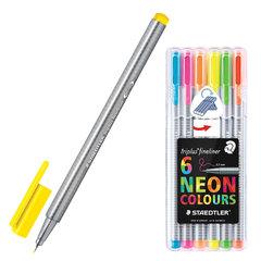 Ручки капиллярные STAEDTLER, набор 6 штук, трехгранные, 0,3 мм, цвета неоновые, ассорти