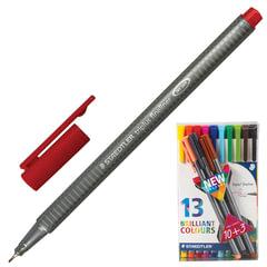 Ручки капиллярные STAEDTLER, набор 13 штук, трехгранные, толщина письма 0,3 мм, ассорти