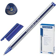 """Ручка шариковая STAEDTLER """"Ball"""", трехгранная, корпус прозрачный, узел 0,7 мм, линия 0,3 мм, синяя"""