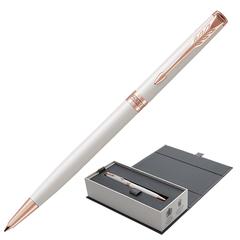 """Ручка шариковая PARKER """"Sonnet Premium Pearl Lacquer PGT Slim"""", тонкая, корпус жемчужный лак, позолоченные детали, черная"""