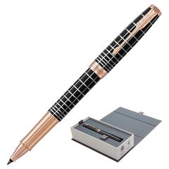 """Ручка-роллер PARKER """"Sonnet Premium Brown Rubber PGT"""", корпус коричневая смола с гравировкой, позолоченные детали, черная, 1931482"""