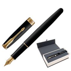"""Ручка перьевая PARKER """"Sonnet Core Matt Black GT"""", корпус черный матовый лак, позолоченные детали, черная"""