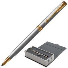 """Ручка шариковая PARKER """"Sonnet Core Stainless Steel GT Slim"""", тонкая, корпус серебристый, позолоченные детали, черная"""
