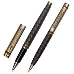 Набор PIERRE CARDIN (Пьер Карден) шариковая ручка и ручка-роллер, корпус черный/серебристый, латунь, PC0860BP/RP, синяя