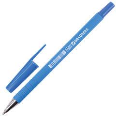"""Ручка шариковая BRAUBERG """"Capital blue"""", СИНЯЯ, корпус soft-touch голубой, узел 0,7 мм, линия письма 0,35 мм, 142493"""