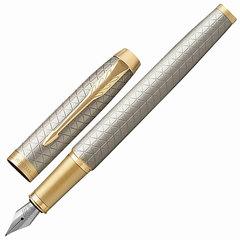 """Ручка перьевая PARKER """"IM Premium Warm Silver GT"""", корпус серебристый матовый с гравировкой, позолоченные детали, синяя"""