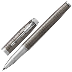 """Ручка-роллер PARKER """"IM Premium Dark Espresso Chiselled CT"""", корпус т-коричневый, латунь с гравировкой, лак, хром, 1931682, черная"""