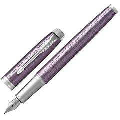 """Ручка перьевая PARKER """"IM Premium Dark Violet CT"""", корпус фиолетовый, анодированный алюминий с гравировкой, хром, 1931636, синяя"""