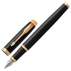 """Ручка перьевая PARKER """"IM Core Black Lacquer GT"""", корпус черный глянцевый лак, позолоченные детали, синяя"""