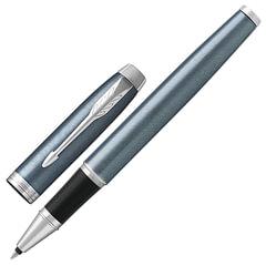 """Ручка-роллер PARKER """"IM Core Light Blue Grey CT"""", корпус серо-голубой с круговой полировкой, латунь, лак, хром, 1931662, черная"""