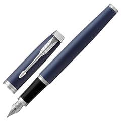 """Ручка перьевая PARKER """"IM Core Matte Blue CT"""", корпус темно-синий, латунь, матовый лак, хром, 1931647, синяя"""