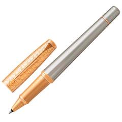 """Ручка-роллер PARKER """"Urban Premium Aureate Powder GT"""", корпус серебристый, алюминий, позолоченные детали, 1931574, черная"""
